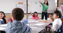 Asian woman teaching young kids in elementary school class Stock Footage
