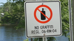 No grafitti sign in Wakefield, Quebec. - stock footage