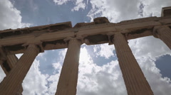 Pan shot of column in the Acropolis of Athens, Greece Stock Footage