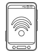 cellphone with wifi icon - stock illustration