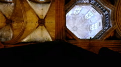 Ceiling of catholic Cathedral Saint Eulalia in the Gothic quarter of Barcelona Stock Footage