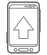 Cellphone with arrow on screen Stock Illustration