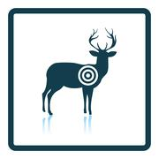 Deer silhouette with target  icon Stock Illustration