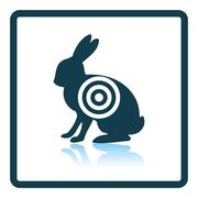 Hare silhouette with target  icon Stock Illustration