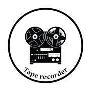Reel tape recorder icon - stock illustration