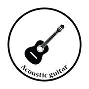 Acoustic guitar icon - stock illustration