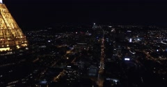 Bank of America Plaza Atlanta Aerial Building Tracking Out Over City Pan Around Stock Footage