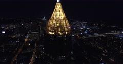 Bank of America Plaza Atlanta Aerial Building Tilt Up Track Backward Stock Footage