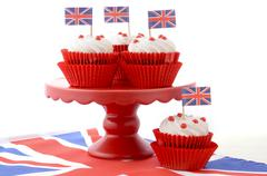 British Cupcakes with Union Jack Flags - stock photo
