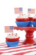 Happy Fourth of July Cupcakes on Red Stand Stock Photos
