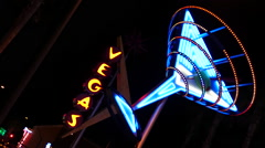 Neon Martini Glass - Las Vegas - stock footage