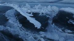Large blocks of ice crack near Holy Nose Peninsula Stock Footage