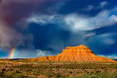Rainbow over the Valley of the Gods Stock Photos