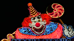 Zoom Out - Circus Circus Casino Neon Sign at Night - Las Vegas - stock footage