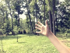 8mm Vintage Style Boy With Hand Out of Car Window Stock VIdeo Stock Footage