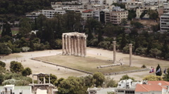 A wide shot of the Temple of Olympian Zeus in Athens, Greece Stock Footage