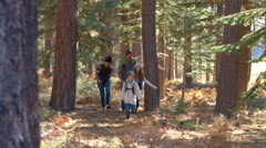 Slow motion panning shot of family running past in a forest - stock footage