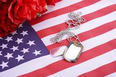 Veterans Day USA Flag with dog tags Kuvituskuvat