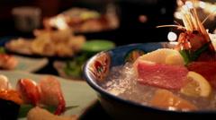 Arranged Japanese food - stock footage