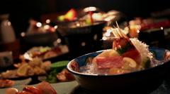 Arranged Japanese food Stock Footage