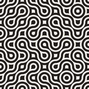 Vector Seamless Black And White Irregular Round Lines Geometric Pattern - stock illustration
