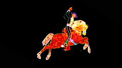 Neon Rodeo Cowboy Riding Animated Bucking Horse - Las Vegas Stock Footage