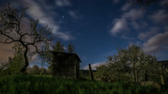 Homeland | Moonlit Night in Spring with Jupiter and Clouds - stock footage