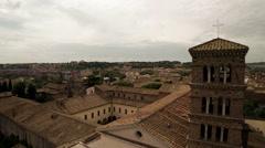 Aerial Basilica of Sant Bonifacio e Alessio in Rome, Italy.  N. Stock Footage