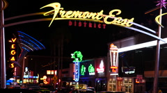 Fremont Street East District at Night - Las Vegas Stock Footage
