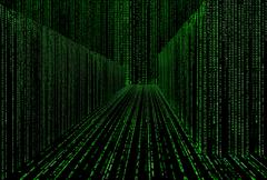 Matrix style cyber corridor as big data storage Stock Illustration