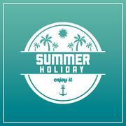 Summer design. palm tree over circle  icon. graphic design Stock Illustration