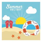 Summer design. sandals and float  icon. graphic design - stock illustration