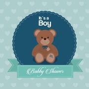 Baby Shower design. teddy bear icon. vector graphic - stock illustration