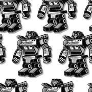 Black robot warrior seamless pattern Stock Illustration
