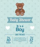 Baby Shower design. teddy bear icon. vector graphic - stock illustration
