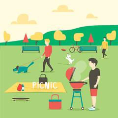 Picnic. Man preparing meat. Summer party in park Stock Illustration