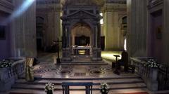 Interior of Basilica of Sant Bonifacio e Alessio in Rome. Drone moves away N. Stock Footage