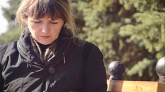 Close-up of a woman with a tablet on outdoors Arkistovideo