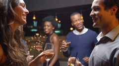 Couples Dancing And Drinking At Evening Party, Slow Motion Stock Footage