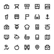 Tourism and Travel Vector Icons Set - stock illustration