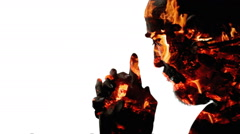 Religion pray charcoal man - stock footage