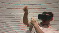 A VR user dances with an imaginary virtual partner before going fishing Stock Footage