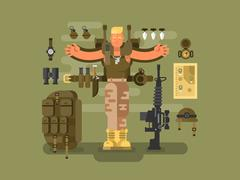 Soldier and ammunition design flat - stock illustration
