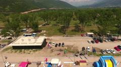 Green campground of Jaz beach, Montenegro Stock Footage