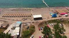 Jaz beach territory with car parking lot, Budva, Montenegro Stock Footage