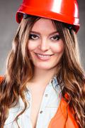 Portrait of pretty woman structural engineer. - stock photo