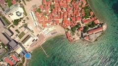 Top view of fortifications of Budva old town. Adriatic sea. Montenegro Stock Footage
