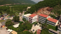 Hotels are on the mountain over Jaz beach. Montenegro Stock Footage