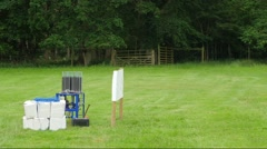 Trap thrower for clay pigeon shooting Stock Footage