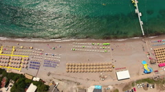 Jaz beach, Budva, Montenegro. Aerial shot Stock Footage